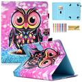 Dteck 9.5-10.5 Inch Universal Case, Nice Cute Folio Stand Case Protective Leather Pocket Cover for Apple/Samsung/Kindle/Huawei/Lenovo/Android/Dragon Touch 9.7 9.6 10.1 10.5 Inch Tablet-Lovely Owl