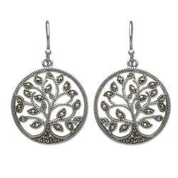 Marcasite dangle earrings, 'Irish Tree of Life'