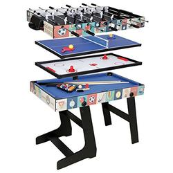 4ft 4 in 1 Multi Game Table Combo Games Table, Foosball, Air Hockey, Pool Tbale, Table Tennis (Blue)