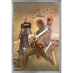 "Trends International Star Clone Wars-Celebration Mural Wall Poster, 22.375"" x 34"", Silver Framed Version"