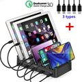 Kisreal Foldable 5 Port USB Charging Station Cell Phone HUB Charger Station Dock Station Organizer Quick Charge Multi Phone Desktop Charging Station, 4USB + 1Type-C (Black 1)