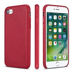 iPhone 7 Case iPhone 8 Case iPhone SE 2020 Cases Rejazz Anti-Scratch iPhone 7 Cover iPhone 8 Cover Genuine Leather Apple iPhone Cases for iPhone 7/8/SE 2020 (4.7 Inch)(Red)