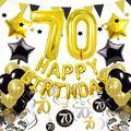 Cocodeko 70th Birthday Decorations, Black Gold Happy Birthday Balloons Number 70 Star Foil Balloons Birthday Confetti Triangular Garland Star-shaped Banner Hanging Swirls for Birthday Party Supplies