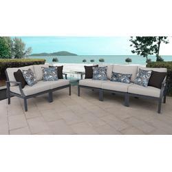 Lexington 5 Piece Outdoor Aluminum Patio Furniture Set 05a in Ash - TK Classics Lexington-05A-Ash