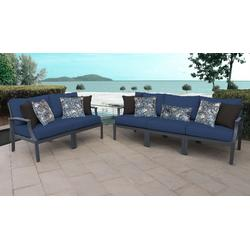 Lexington 5 Piece Outdoor Aluminum Patio Furniture Set 05a in Navy - TK Classics Lexington-05A-Navy
