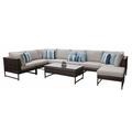 Amalfi 9 Piece Outdoor Wicker Patio Furniture Set 09d in Ash - TK Classics Amalfi-09D-Gld-Ash