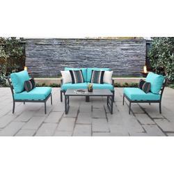 Lexington 5 Piece Outdoor Aluminum Patio Furniture Set 05d in Aruba - TK Classics Lexington-05D-Aruba