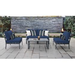 Lexington 5 Piece Outdoor Aluminum Patio Furniture Set 05d in Navy - TK Classics Lexington-05D-Navy