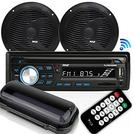 Marine Stereo Receiver Speaker Kit - in-Dash LCD Digital Console Built-in Bluetooth & Microphone 6.5