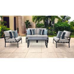 Lexington 5 Piece Outdoor Aluminum Patio Furniture Set 05c in Beige - TK Classics Lexington-05C-Beige