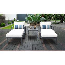 Lexington 5 Piece Outdoor Aluminum Patio Furniture Set 05b in White - TK Classics Lexington-05B-White