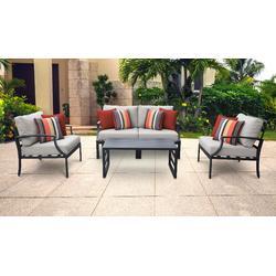 Lexington 5 Piece Outdoor Aluminum Patio Furniture Set 05c in Ash - TK Classics Lexington-05C