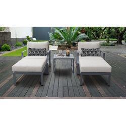 Lexington 5 Piece Outdoor Aluminum Patio Furniture Set 05b in Ash - TK Classics Lexington-05B-Ash