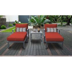 Lexington 5 Piece Outdoor Aluminum Patio Furniture Set 05b in Terracotta - TK Classics Lexington-05B-Terracotta