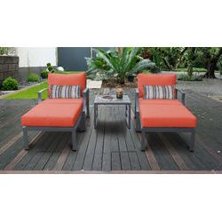 Lexington 5 Piece Outdoor Aluminum Patio Furniture Set 05b in Tangerine - TK Classics Lexington-05B-Tangerine