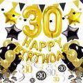 Cocodeko 30th Birthday Decorations, Black Gold Happy Birthday Balloons Number 30 Star Foil Balloons Birthday Confetti Triangular Garland Star-shaped Banner Hanging Swirls for Birthday Party Supplies