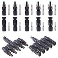 Glarks Solar Panel Connectors 1 Male to 5 Female and 1 Female to 5 Male T Branch Connectors Cable Coupler Combiner and 5 Pair Male/Female Solar Panel Cable Connectors Set (M/5F and F/5M)