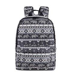 Cute Elephant School Backpack for Girls/Boys Womens Bookbag, Casual Canvas Daypack Black