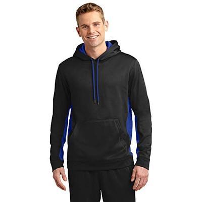 Sport-Tek Men's Sport Wick Fleece Colorblock Hooded XL Black/True Royal