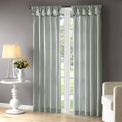 Aqua Curtains For Living Room , Transitional Fabric Curtains For Bedroom , Emilia Solid Window Curta
