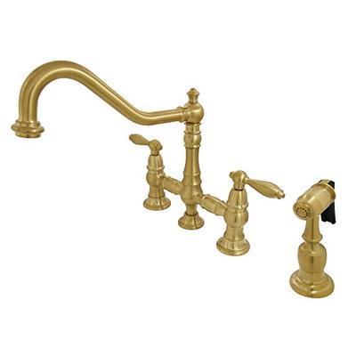 Kingston Brass KS3277ALBS Restoration Bridge Kitchen Faucet with Side Sprayer Satin Brass