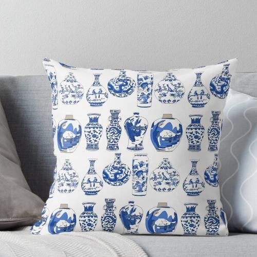 Blaue orientalische Vasen Kissen