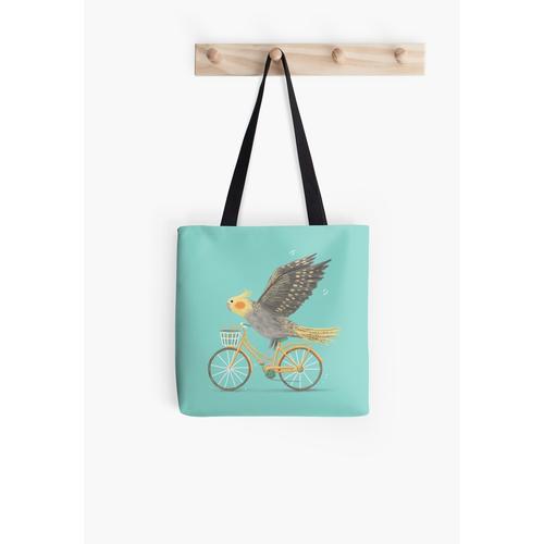 Nymphensittich auf einem Fahrrad Tasche
