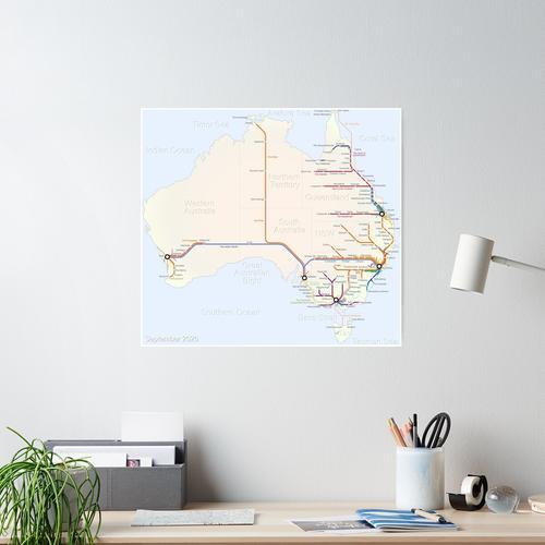 Australische Eisenbahnkarte Poster