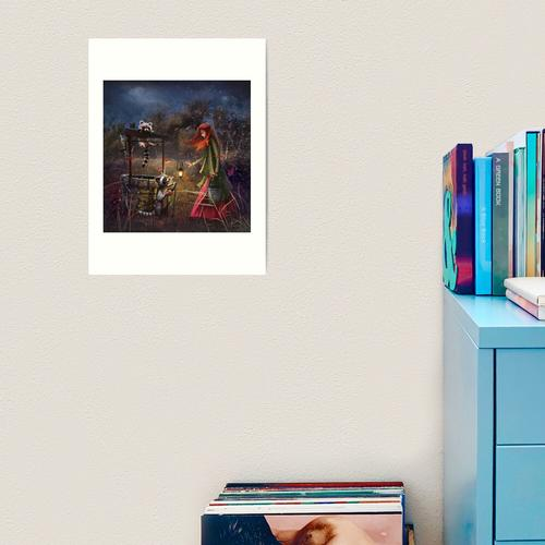 Tinte auf Papier und digitales Finish. Kunstdruck