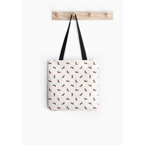 Dackelmuster - Weiß Tasche
