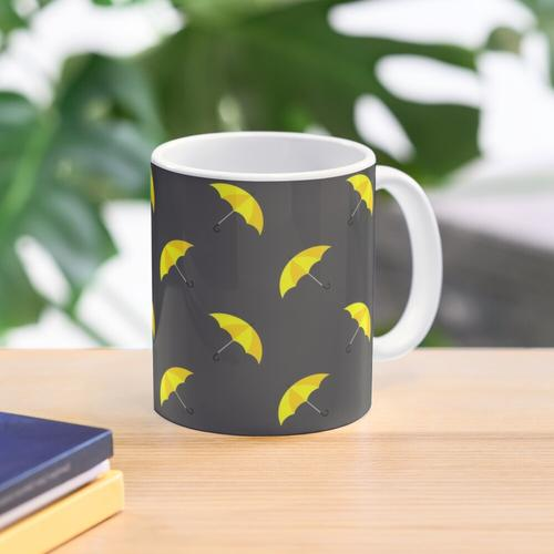 Gelber Regenschirm Tasse