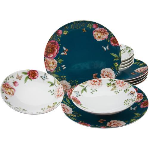 CreaTable Tafelservice Enjoy Roses, (Set, 12 tlg.) bunt Geschirr-Sets Geschirr, Porzellan Tischaccessoires Haushaltswaren