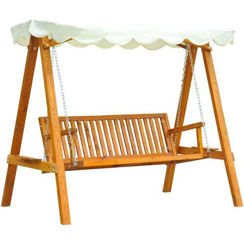 ® Hollywoodschaukel 3-Sitzer Gartenschaukel Schaukelbank Schaukel Lärcheholz Creme