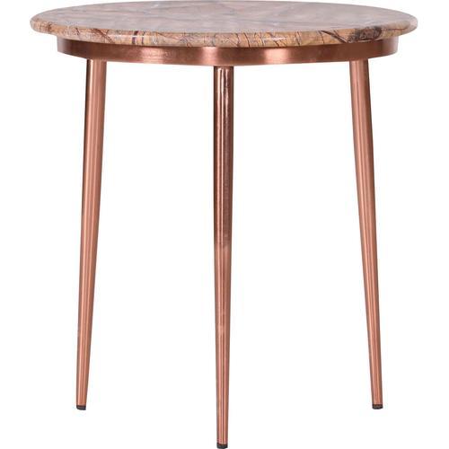 Leonique Beistelltisch Menton, mit kupferfarbenem Gestell und edler Marmorplatte braun Beistelltische Tische