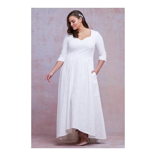 Große Größen Brautkleid Damen (Größe 46, offwhite) | Ulla Popken Festliche Kleider | Viskose/Baumwolle/Elasthan, Herzausschnitt