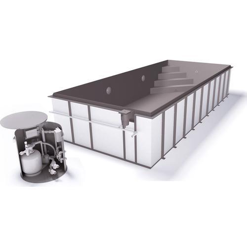 Skimmerpool-Komplettset G1 mit Skimmer 3,00 x 4,00m und Pool-Überdachung / Pooldach