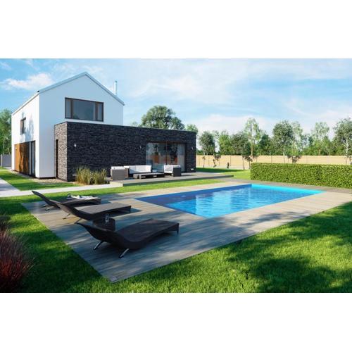 Salzwasserpool-Komplettset G1 mit Skimmer 3,45 x 8,00m und Pool-Überdachung / Pooldach