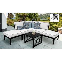 kathy ireland Homes & Gardens Madison Ave. 6 Piece Outdoor Aluminum Patio Furniture Set 06b in Snow - TK Classics Madison-06B