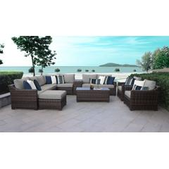kathy ireland Homes & Gardens River Brook 12 Piece Outdoor Wicker Patio Furniture Set 12a in Slate - TK Classics River-12A-Grey