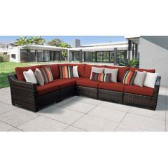 kathy ireland Homes & Gardens River Brook 6 Piece Outdoor Wicker Patio Furniture Set 06v in Cinnamon - TK Classics River-06V-Terracotta