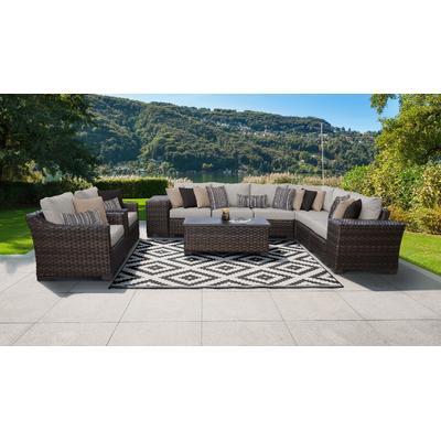 kathy ireland Homes & Gardens River Brook 11 Piece Outdoor Wicker Patio Furniture Set 11c in Truffle - TK Classics River-11C-Ash