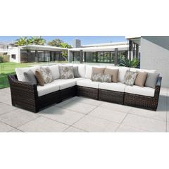 kathy ireland Homes & Gardens River Brook 6 Piece Outdoor Wicker Patio Furniture Set 06v in Alabaster - TK Classics River-06V-White