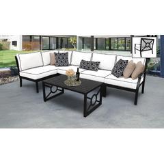 kathy ireland Homes & Gardens Madison Ave. 6 Piece Outdoor Aluminum Patio Furniture Set 06q in Snow - TK Classics Madison-06Q