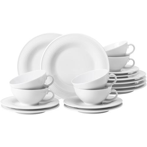 Seltmann Weiden Teeservice Beat, (Set, 18 tlg.), 140 ml, mit Rillendekor weiß Geschirr-Sets Geschirr, Porzellan Tischaccessoires Haushaltswaren