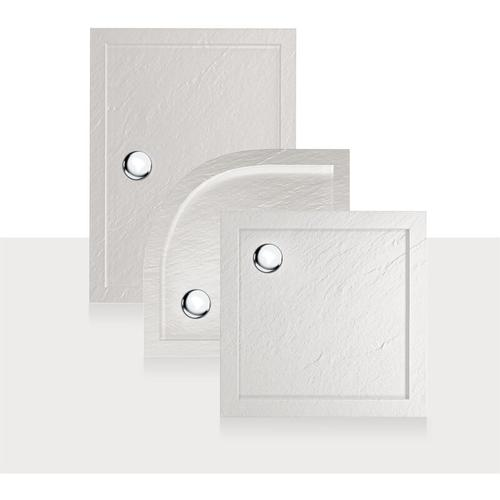 Duschwanne 90x90x4 mit Erhöhte Kante Viereckig Weiß mit Stein-Effekt mod. Flower