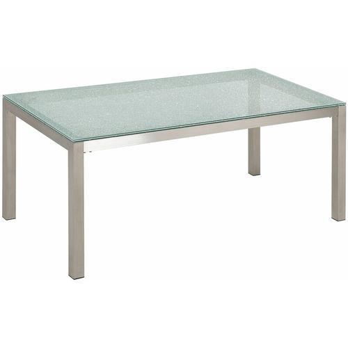 Gartentisch silber Sicherheitsglas Eis-crashglas Edelstahl 180 x 90 cm modern Outdoor