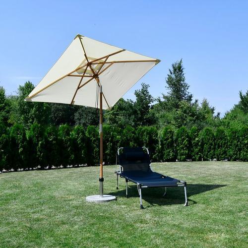 200 x 150cm Holz Sonnenschirm für Garten, rechteckiger Balkonschirm, Sonnenschutz bis UV 50+, Creme
