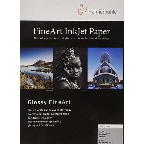 Hahnemühle FineArt Baryta Highgloss (325g/m², A4, 25x), Fotopapier, Weiss