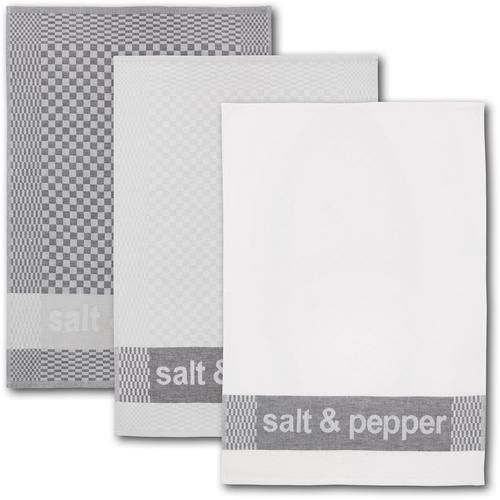 Dyckhoff Geschirrtuch salt & pepper, mit drei verschiedenen Motiven grau Geschirrtücher Küchenhelfer Haushaltswaren