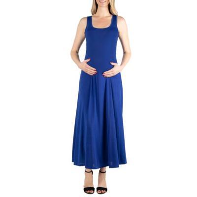 24seven Comfort Apparel Lapis Maternity Simple A Line Tank Maxi Dress